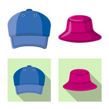 Vector design of headgear and cap symbol. Collection of headgear and accessory stock vector illustration.