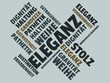 Das Wort - Eleganz - abgebildet in einer Wortwolke mit zusammenhängenden Wörtern - 227602232