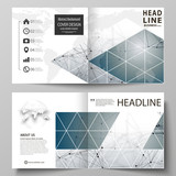 Business templates for square design bi fold brochure, flyer, booklet, report. Leaflet cover, vector layout. DNA and neurons molecule structure. Medicine, science, technology concept. Scalable graphic - 227602616