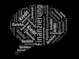 Das Wort - Finanzierung - abgebildet in einer Wortwolke mit zusammenhängenden Wörtern