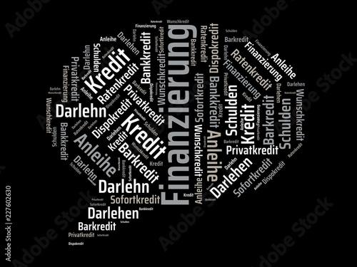 Leinwanddruck Bild Das Wort - Finanzierung - abgebildet in einer Wortwolke mit zusammenhängenden Wörtern
