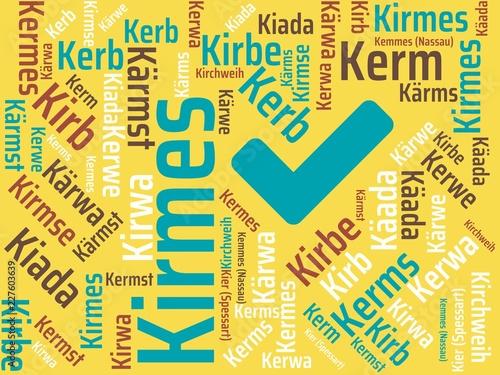 Leinwanddruck Bild Das Wort - Kirmes - abgebildet in einer Wortwolke mit zusammenhängenden Wörtern