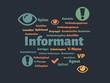 Das Wort - Informant - abgebildet in einer Wortwolke mit zusammenhängenden Wörtern - 227604468