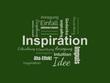Das Wort - Inspiration - abgebildet in einer Wortwolke mit zusammenhängenden Wörtern - 227604479