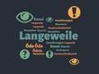 Das Wort - Langeweile - abgebildet in einer Wortwolke mit zusammenhängenden Wörtern - 227605051