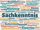 Das Wort - Sachkenntnis - abgebildet in einer Wortwolke mit zusammenhängenden Wörtern
