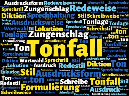 Leinwandbild Motiv Das Wort - Tonfall - abgebildet in einer Wortwolke mit zusammenhängenden Wörtern