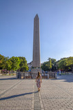 Obelisk of Theodosius or Egyptian Obelisk in ancient Hippodrome near Sultanahmet,Blue Mosque in Istanbul, Turkey