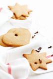 Gingerbread cookies. Christmas time. White background. Copy space.   - 227611814