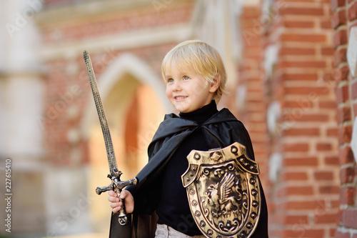 Leinwandbild Motiv Portrait of a cute little boy dressed as a medieval knight
