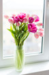 A bouquet of  tulips in a vase. Soft selective focus