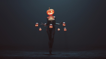 Sexy Pumpkin Head Devil Woman with Floating Skulls in a foggy void 3d Illustration 3d render