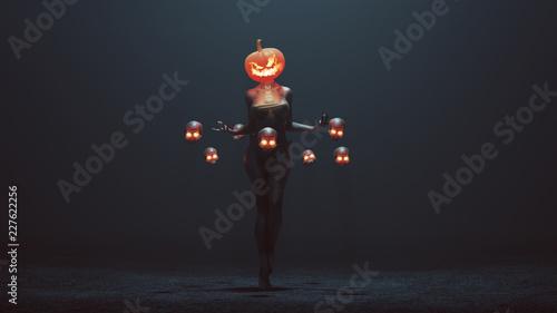 Leinwanddruck Bild Sexy Pumpkin Head Devil Woman with Floating Skulls in a foggy void 3d Illustration 3d render