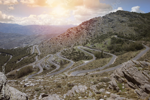 Leinwandbild Motiv Zigzag road in the mountains in the Spain.