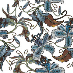Embroidery tiger lily seamless pattern, flowers orchids. Template for clothes, textiles, t-shirt design © Matrioshka