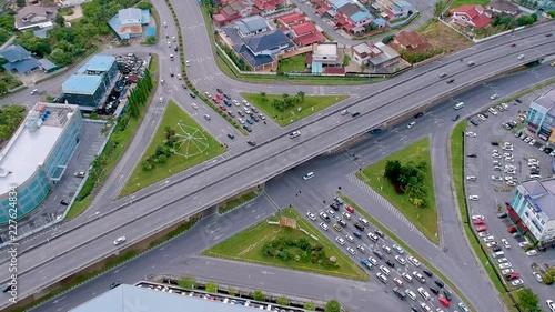 Fridge magnet Diagonal angled aerial shot of the flyover in Kuching, Sarawak, Malaysia