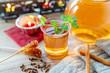 Leinwanddruck Bild - Entspannung bei einem guten Glas Tee