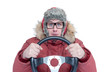 Frozen man in red winter clothes with a steering wheel, isolated on white background. Concept car driver