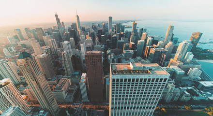 Chicago cityscape skyline at sunset aerial view