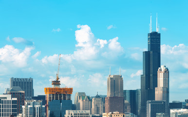 Chicago skyscrapers skyline with puffy white clouds