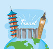 global explore journey with passport and ticket