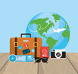 global travel and briefcase with journay things