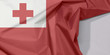 Quadro Tonga fabric flag crepe and crease with white space, A red field with the white rectangle on the upper hoist-side corner bearing the red Greek Cross in the centre.