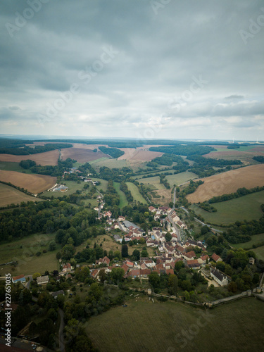 aerial view french small town - 227651035
