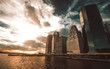New York city panorama at sunset with a drammatic sky