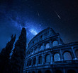 Quadro Colosseum in Rome with milky way and falling stars, Italy