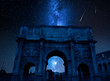 Quadro Milky way with falling stars over Triumphal arch, Rome, Italy