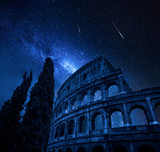 Colosseum in Rome with milky way and falling stars, Italy