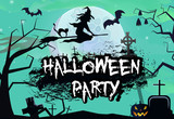 Halloween banner design with witch on broom.Creative lettering with witch on broom, graves, pumpkins, trees, bats and full moon. Can be used for posters,leaflets,banners.