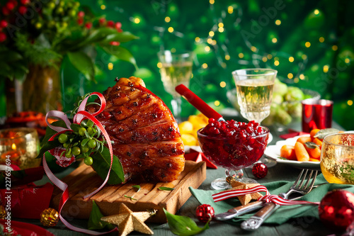 Christmas dinner with side dishes - 227657694