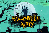 Halloween party graffiti banner design. Creative lettering with zombie hand, pumpkin, graves, tree and full moon. Can be used for banners, posters, postcards