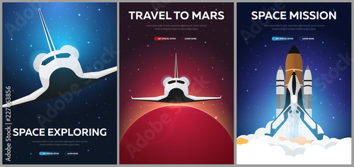 Set of Banners of Space. Space Shuttle. Astronomical galaxy space background. Vector Illustration. - 227663856