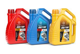 Motor oil canisters with different types of motor oil on white isolated background. - 227666296