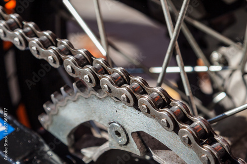 Steel gear chain on a sport bike.