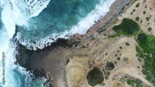 Waves hitting rocks by seahore. 1080p 50fps