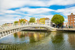 Ha'penny Bridge and Liffey river, Dublin, Ireland - 227678861