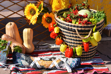 Basket of vegetables and berries