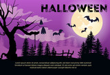 Halloween lettering with sample text, tree, flying bats and moon. Invitation or advertising design. Typed text, calligraphy. For leaflets, brochures, invitations, posters or banners.