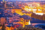 Florence cityscape and Arno river sunset view