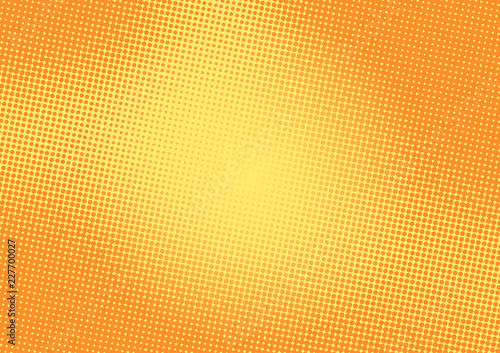 Bright yellow and orange pop art retro background with halftone in comic style, vector illustration eps10 - 227700027