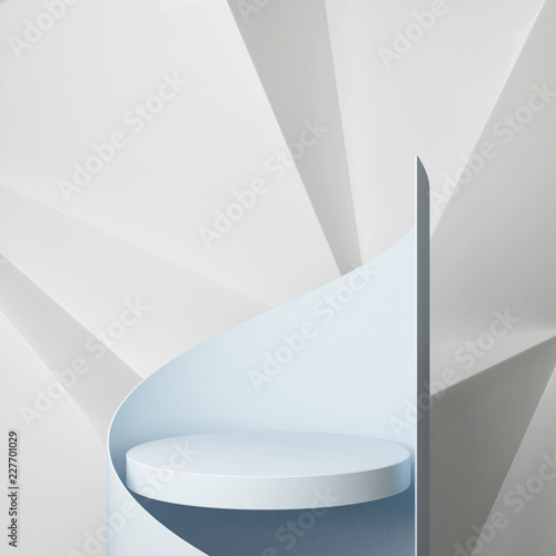 Podium with hipster abstract background composition , 3d render, 3d illustration - 227701029