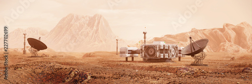 base on Mars, first colonization, martian colony in desert landscape on the red planet (3d space illustration banner)