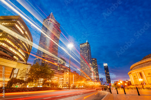 Poster Warsaw Central Business District at night
