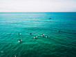 Leinwanddruck Bild - surfer waiting on beach for the next big wave in porto, portugal
