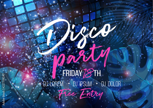 banner template with disco ball - 227709247