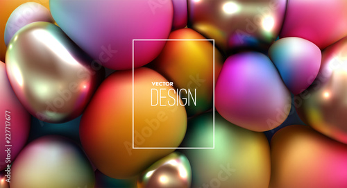Vector 3d illustration of squeezed spheres. - 227717677
